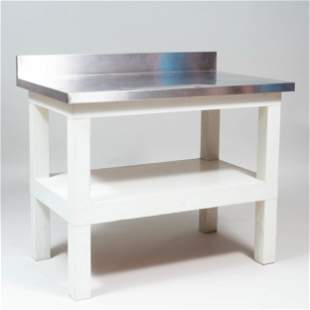 Stainless Steel and Painted Wood Work Table