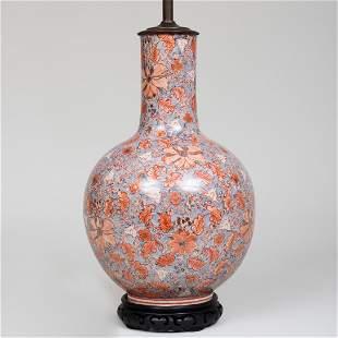 Chinese Style Crackle Glazed Bottle Vase Vase Mounted