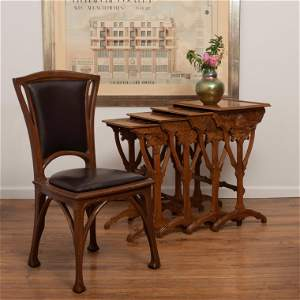 Art Nouveau Carved Oak and Leather Side Chair