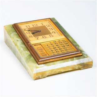 Cartier Brass-Mounted and Hardstone Desk Clock and