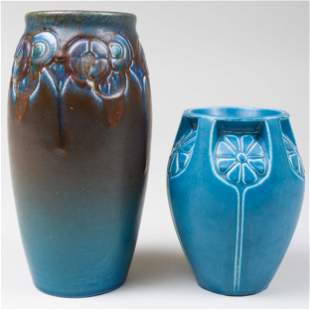 Two Rookwood Pottery Blue Glazed Vases Molded with