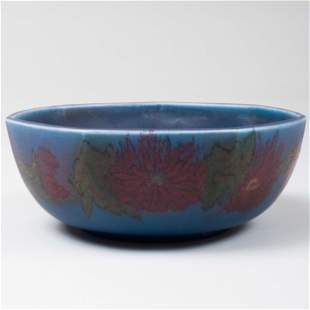 Small Rookwood Pottery Blue Glazed Bowl Decorated with
