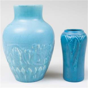 Two Rookwood Pottery Blue Glazed Vases