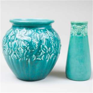 Two Rookwood Pottery Turquoise Glazed Vases Molded with