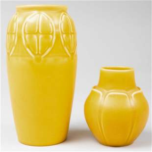 Two Rookwood Pottery Yellow Glazed Vases