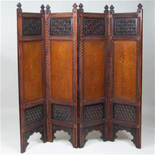 Indian Brass Inlaid Carved Hardwood Four Panel Screen