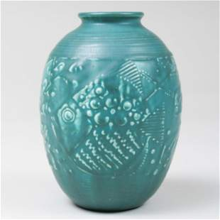 Rookwood Pottery Glazed Vase Molded with Fish