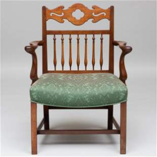 George III Carved Oak and Mahogany Armchair, Yorkshire