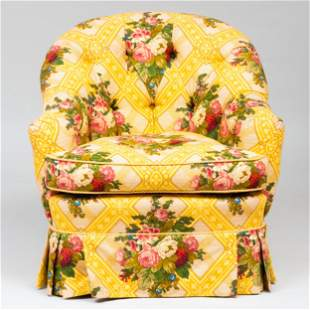 Floral Linen Tufted Upholstered Club Chair