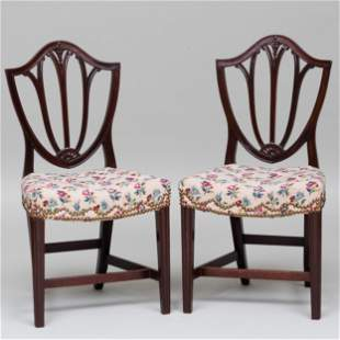 Pair of Small George III Mahogany Side Chairs