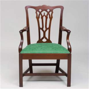 George III Carved Mahogany Armchair, in the Neo-Gothic