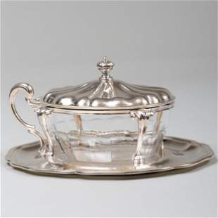 Buccellati Silver-Mounted Cut Glass Condiment Dish on