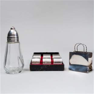 Cartier Silver Miniature Shopping Bag and a Christofle