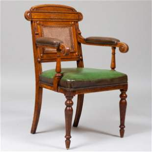 William IV Oak, Caned and Leather Armchair, Stamped C.
