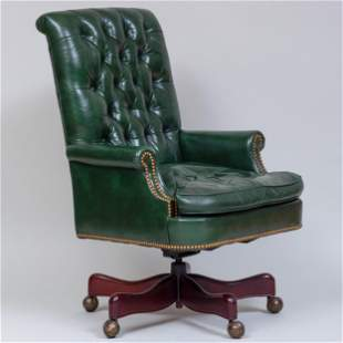 Tufted Green Leather Desk Chair, Hickory