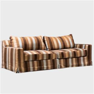 Modern Striped Embroidered Upholstered Sofa, Christian