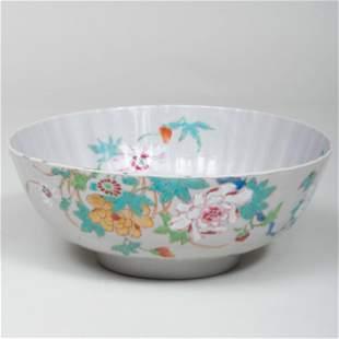 Chinese Famile Rose Porcelain Punch Bowl