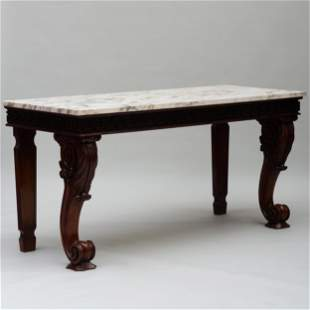 Large George IV Carved Mahogany Console Table, Irish