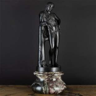 Italian Patinated Metal Model of a Youthful Man on a Ma