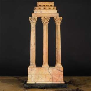 Italian Sienna Marble Model of the 'Temple of Castor