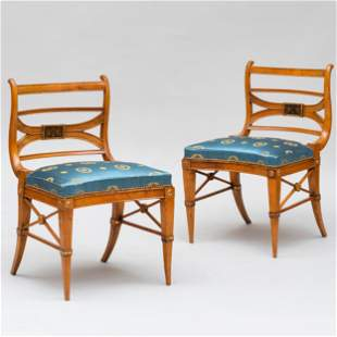 Pair of Italian Neoclassical Fruitwood and Parcel-Gilt