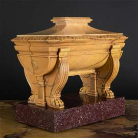 Fine Italian Sienna Marble and Porphyry Sarcophagus For