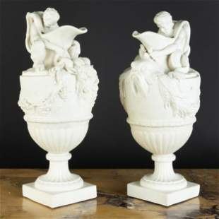 Pair of  T.J. & J. Meyer, Longport Parianware Ewers,