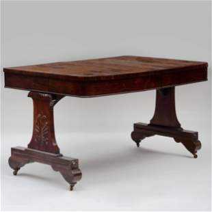Regency Inlaid Goncalo Alves Trestle Library Table