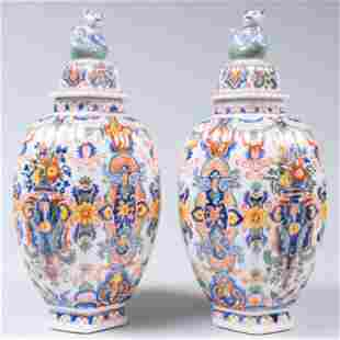 Pair of French Rouen Style Ceramic Jars and Covers