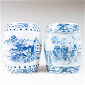 Two Chinese Blue and White Garden Seats