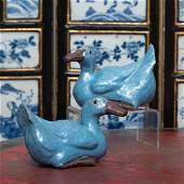 Pair of Chinese Export Porcelain Models of Ducks