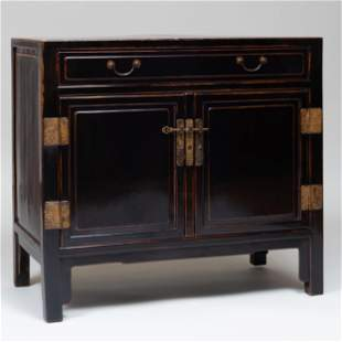 Chinese Painted Elmwood Side Cabinet