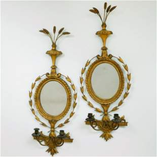 Pair of Edwardian Giltwood Two-Light Wall Lights