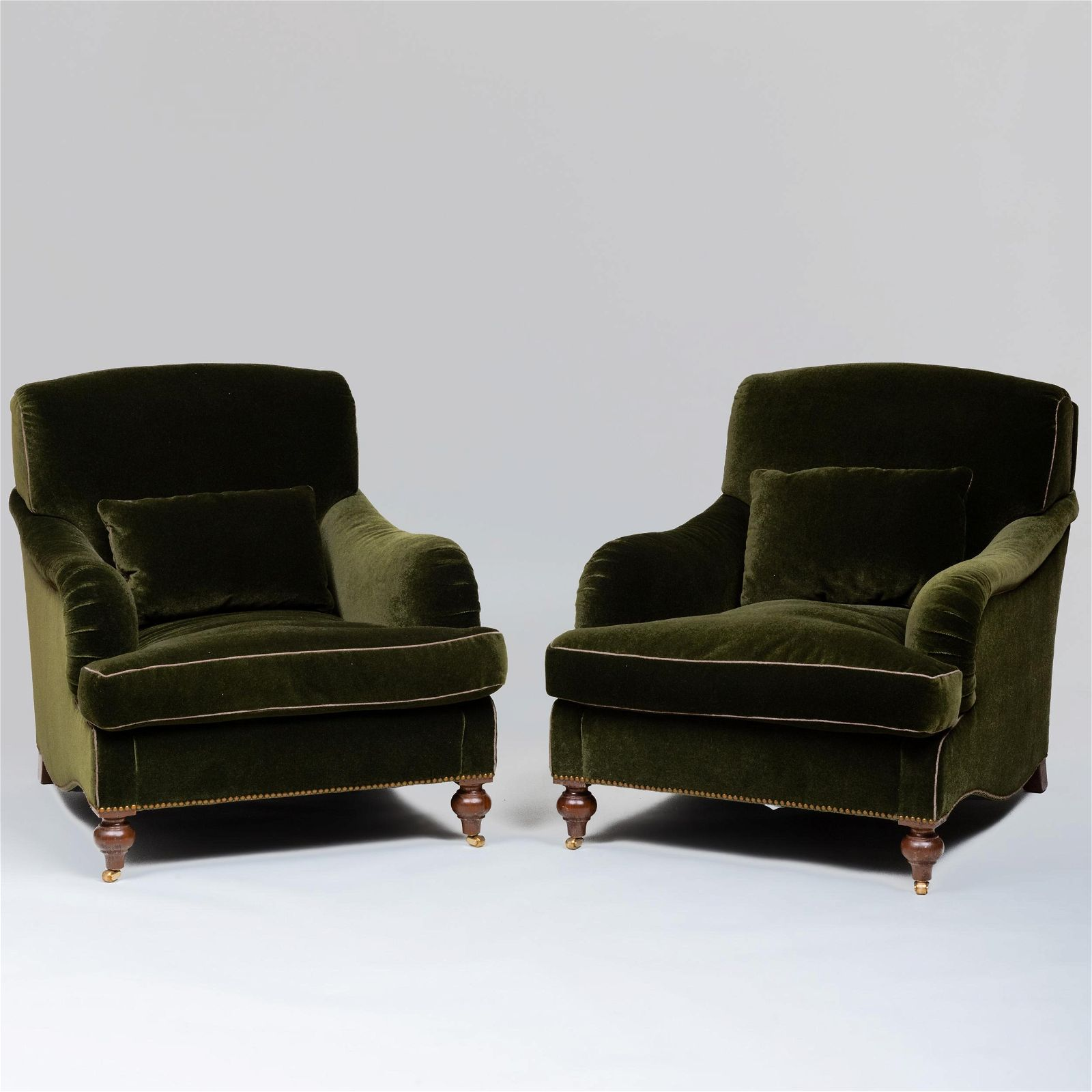 Pair of Green Mohair Upholstered Club Chairs, A.