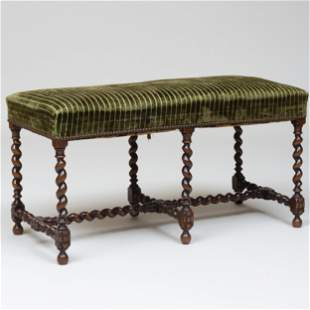 William and Mary Style Mahogany Bench with Green Velvet
