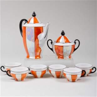 Czechoslovakian Luster Glazed Porcelain Coffee Service