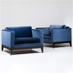 Pair of Large Modern Ebonized and Upholstered Club