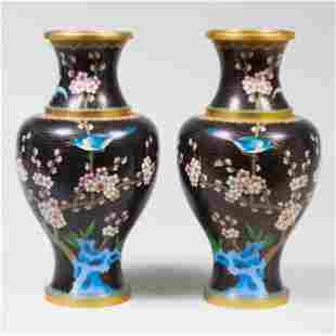 Two Modern Chinese Cloisonne Baluster Vases
