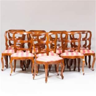 Set of Twelve Italian Rococo Style Walnut Dining Chairs