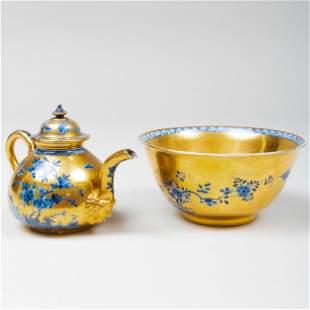 Two Meissen Gold Ground Porcelain Wares