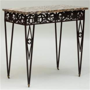 Wrought Iron and Marble Console Table