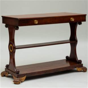 Regency Gilt-Metal-Mounted Mahogany Table, stamped