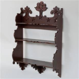 Victorian Walnut Hanging Shelf 42 1/2 x 28 1/2 x 10