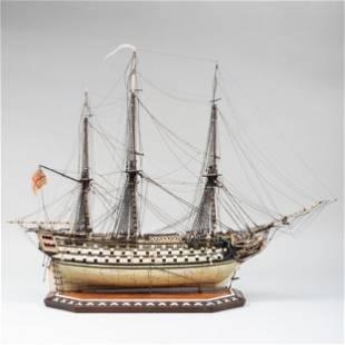 Fine English Three Masted Bone Prisoner of War Ship,