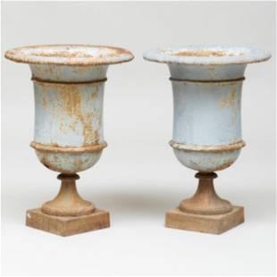 Pair of Grey Painted Cast-Iron Garden Urns 23 1/4 x