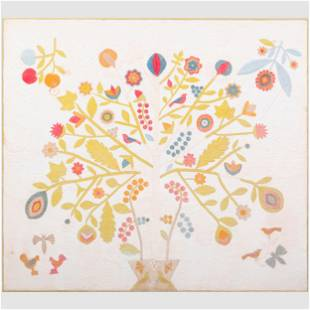 American Floral Patchwork Quilt Now framed. 5 ft. 7