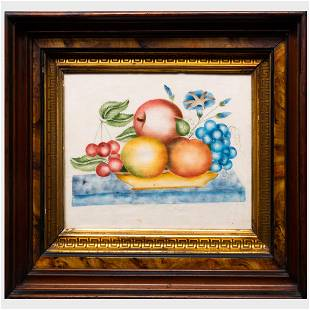 American Theorem of Fruit in a Bowl Oil on fabric,