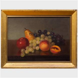 American School: Still Life With Fruit Oil on canvas,
