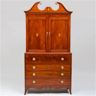 Federal Inlaid Mahogany Linen Press In two parts; the
