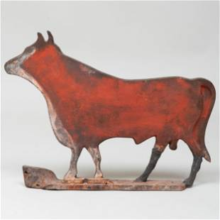 Painted Metal and Zinc Cow-Form Butcher's Sign